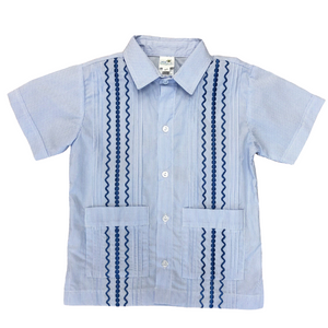 Light Blue & White Stripe Guayabera Shirt