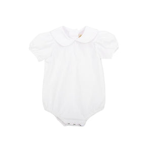 Maude's Peter Pan Collar Short Sleeve Woven Shirt - Worth Avenue White