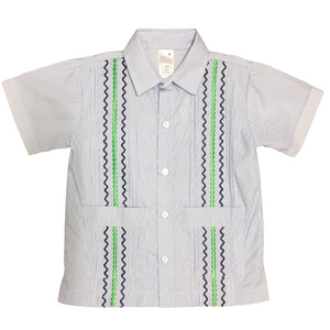 Navy Stripe Guayabera Shirt