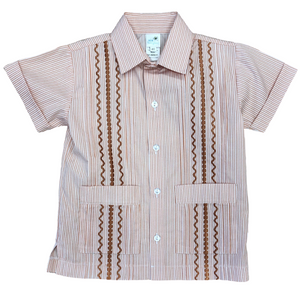 Orange Stripe Boys Guayabera Shirt
