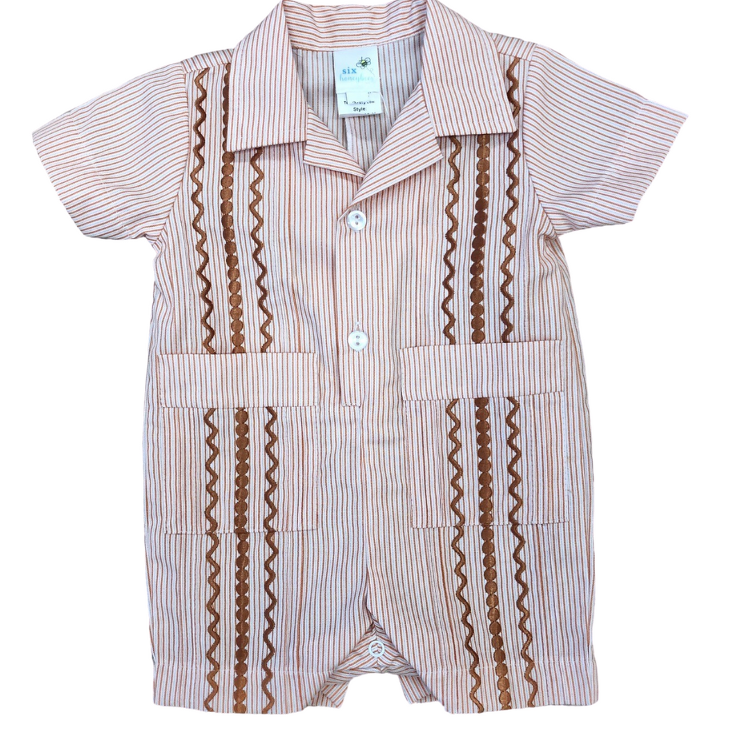 Orange Stripe Boys Guayabera Romper