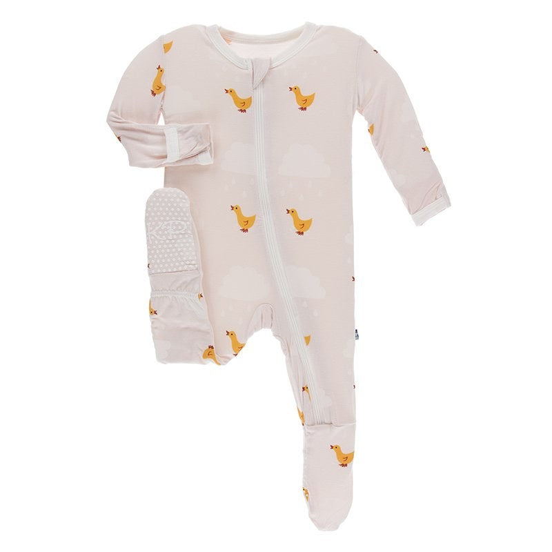 Puddle Duck Ruffle Footie with Zipper