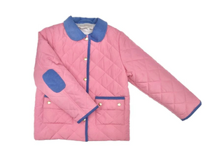 Kendall's Quilted Coat Hamptons Hot Pink with Periwinkle
