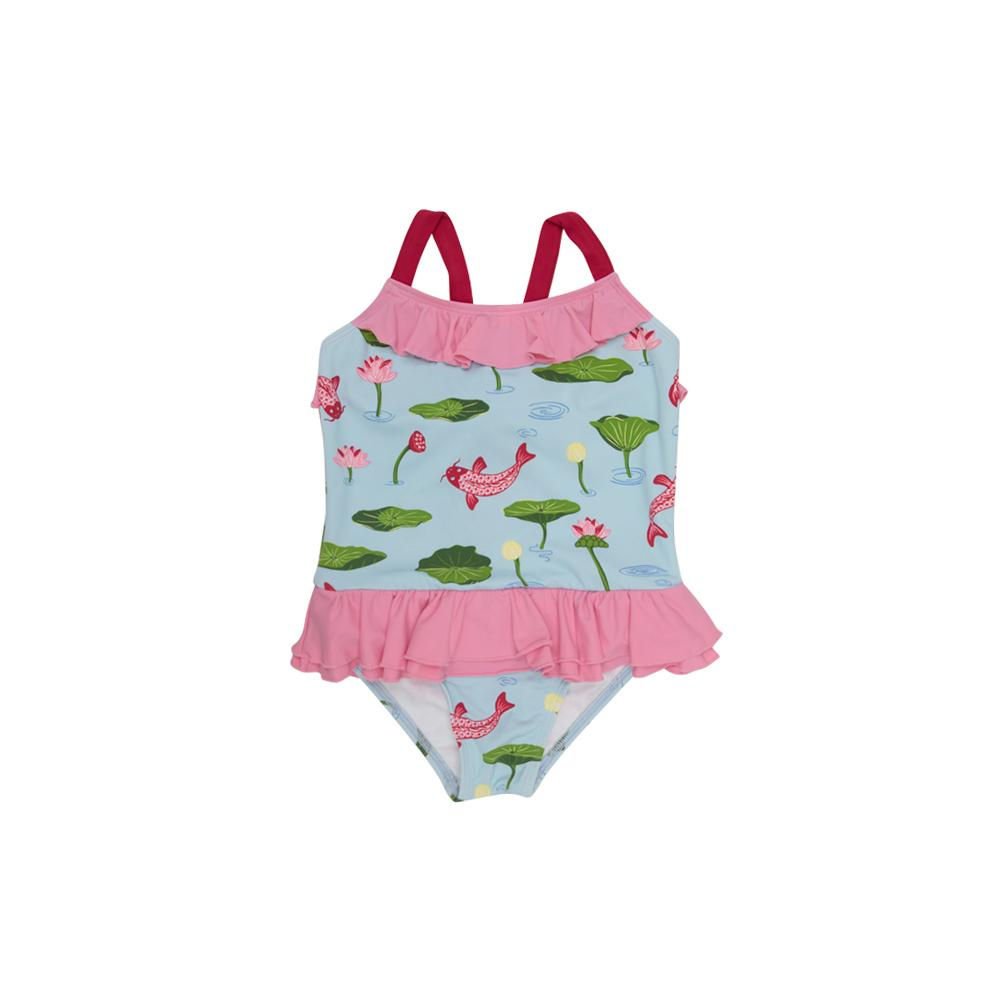Rodeo Drive Ruffle Swimsuit - Cute & Koi with Hamptons Hot Pink