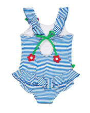 Load image into Gallery viewer, Blue Stripe Seersucker Swimsuit with Flowers