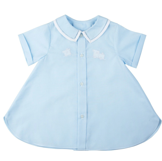 Blue Layette Train Open Day Gown
