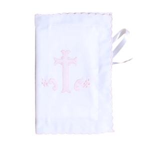 Scalloped Bible Cover with Pink Embroidered Cross