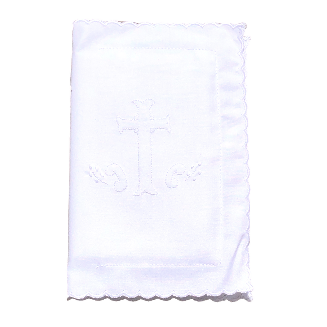 Scalloped Bible Cover with White Embroidered Cross