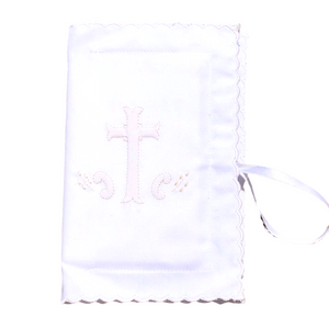 Scalloped Bible Cover with Ecru Embroidered Cross