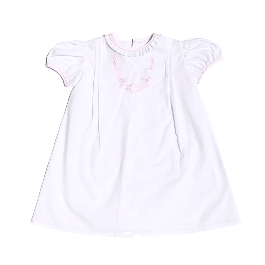 Daygown - White with Pink Embroidery