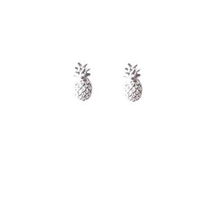 Silver Pineapple Post Earring