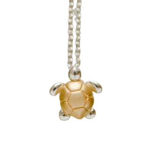 Two Tone Mixed Metal Turtle Necklace