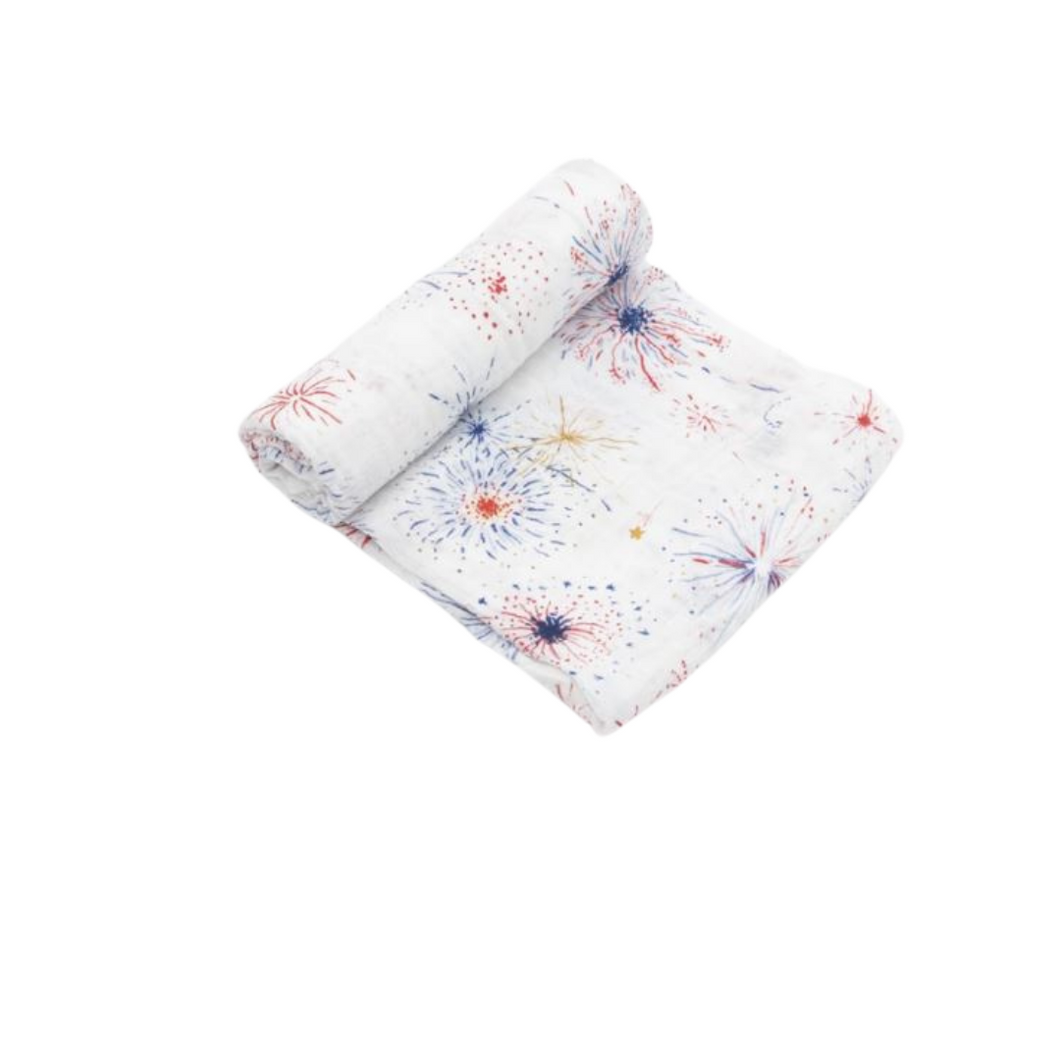 Cotton Muslin Swaddle - Fireworks