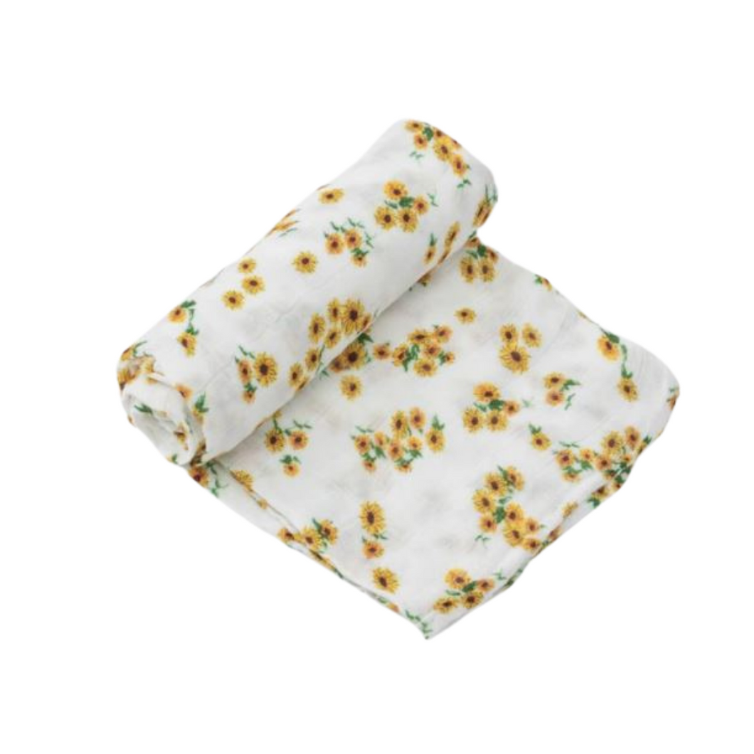 Deluxe Muslin Swaddle - Ditsy Sunflower