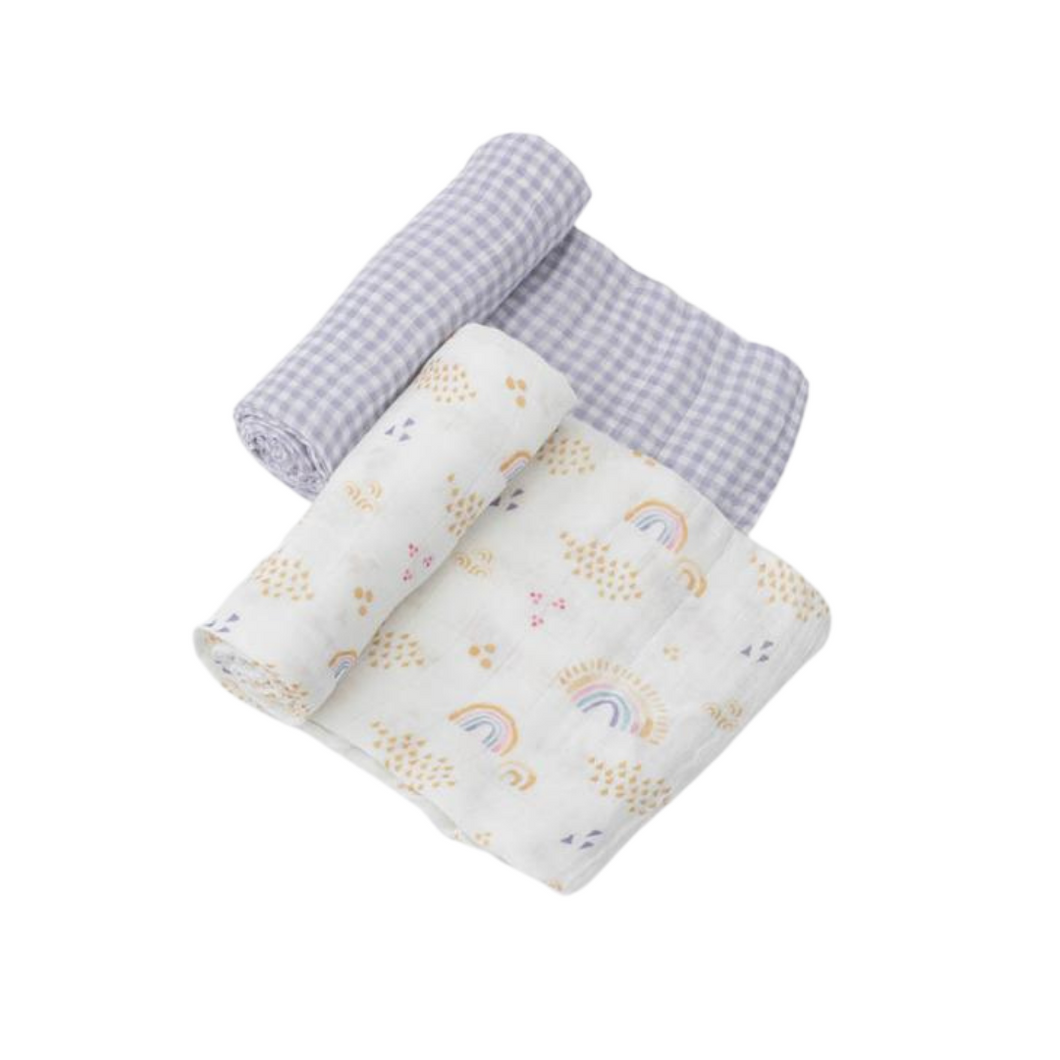 Deluxe Muslin Swaddle 2 Pack - Rainbow Gingham