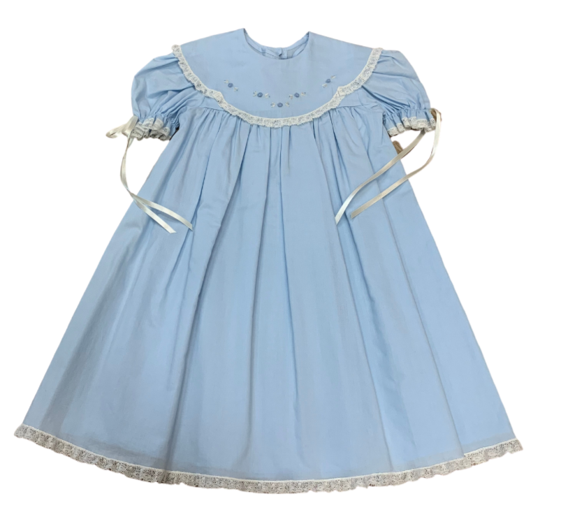 Blue Rosebud Embroidered Collar Dress with Slip