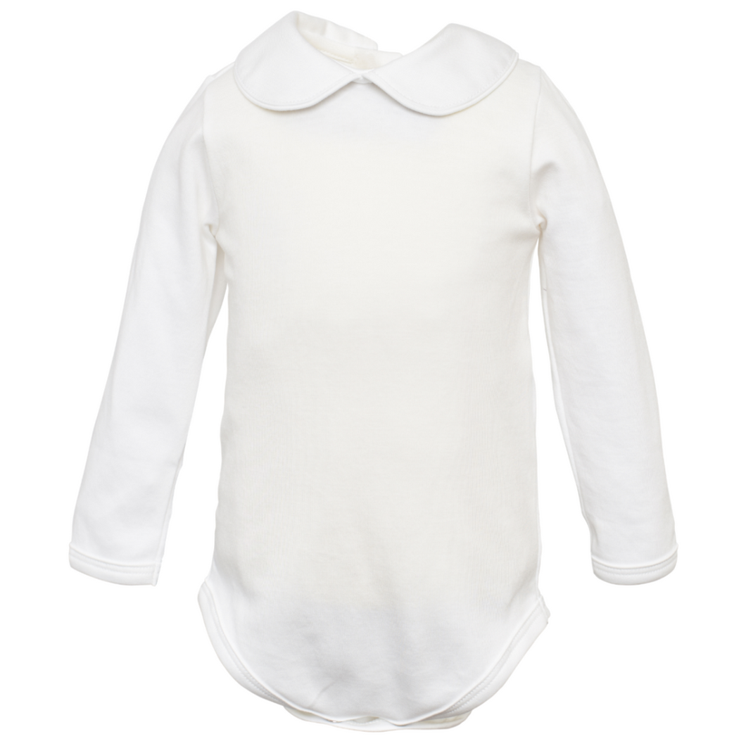 White Long Sleeve with Collar Onesie