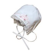 Load image into Gallery viewer, Vintage Bow & Lace White Bonnet