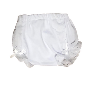 Diaper Cover with White Eyelet Beading