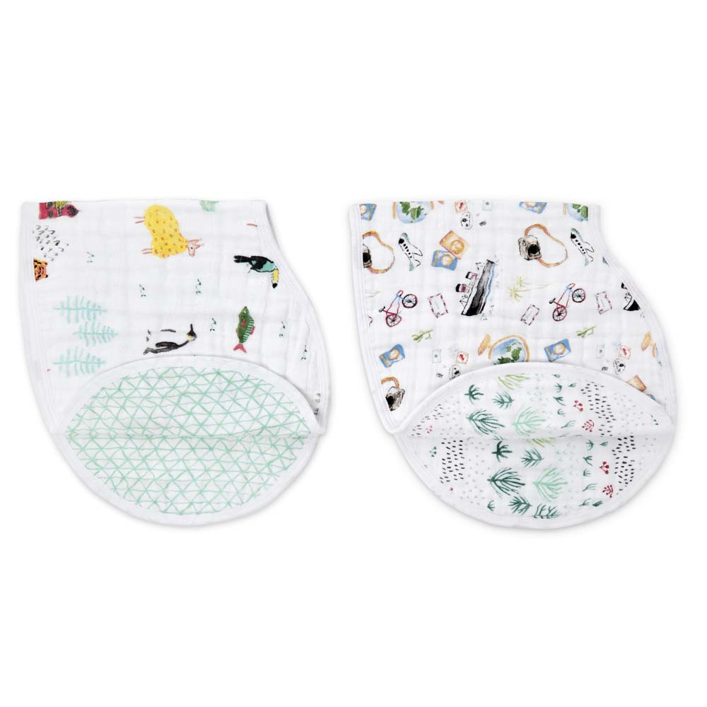 Classic Burpy Bibs 2 Pack - Around the World