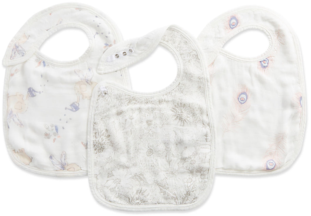 Silky Soft Snap Bibs 3 Pack - Feather