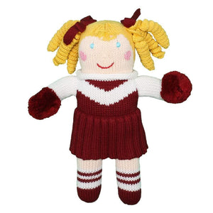 "Maroon & White Cheerleader 7"" Rattle"