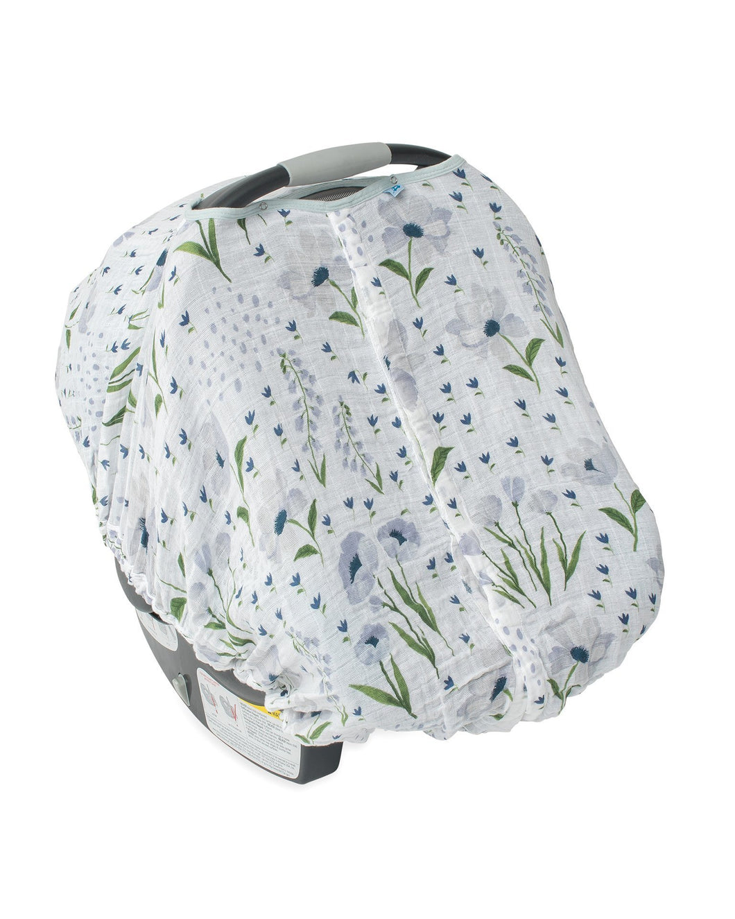 Cotton Muslin Car Seat Canopy - Blue Windflower