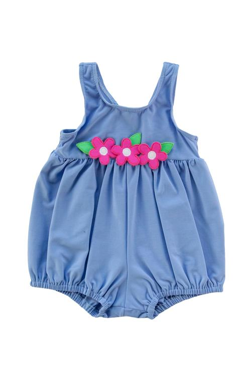 Blue Bubble Swimsuit with Flowers