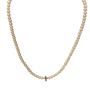 "13"" Mini Cross Pearl Necklace"