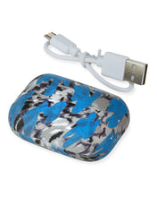 Load image into Gallery viewer, Blue Tie Dye Compact Ear Buds