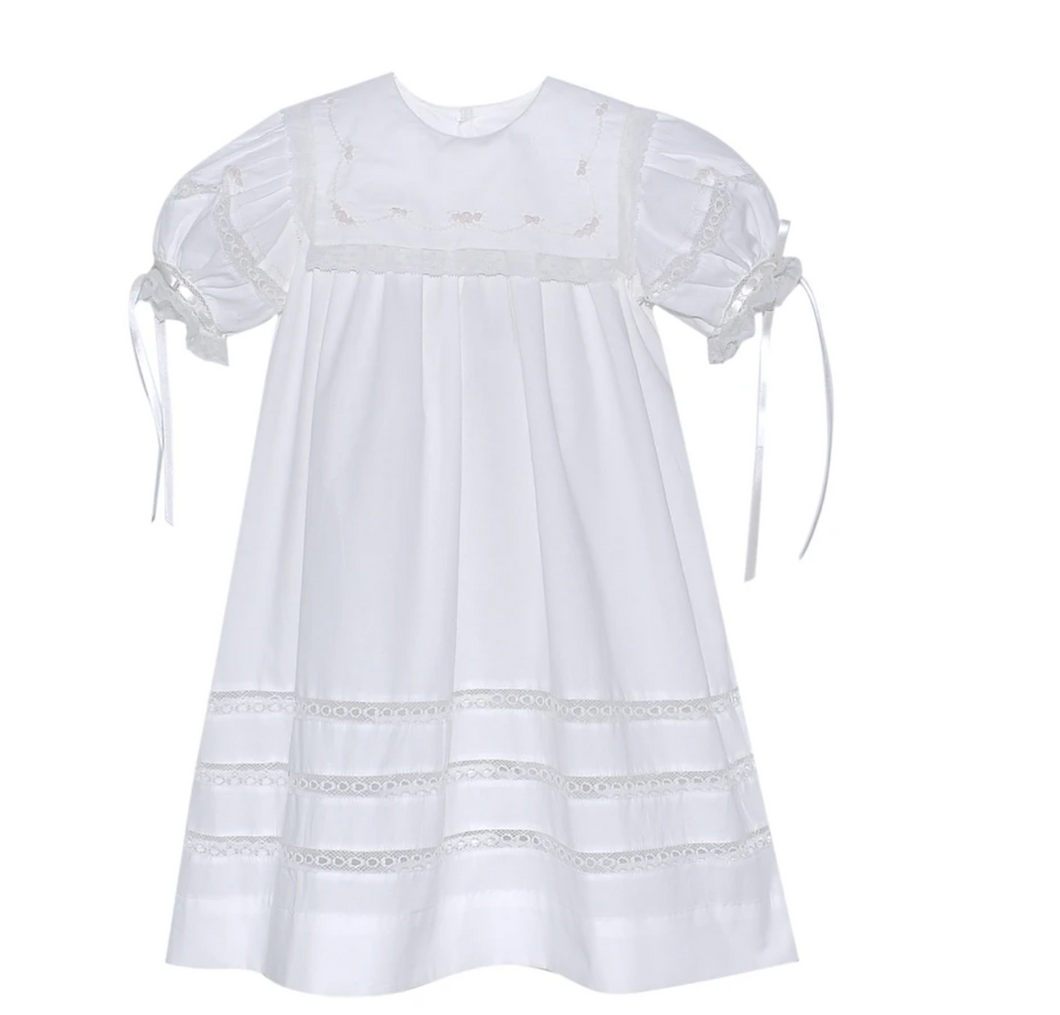 Elle Dress Ecru With Lace Trim