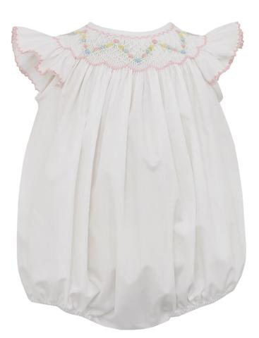 Elsa Angel Wing White Poplin Smocked Bubble