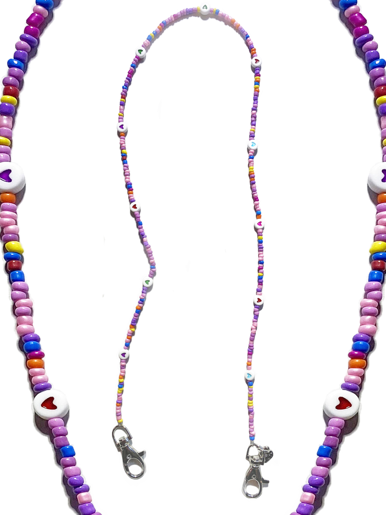 Pink And Purple Multi Heart Face Mask Chain