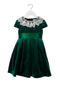 Velvet Dress with Ruffle Lace - Green