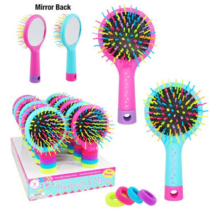 Hairbrush With Scrunchies - Assorted Colors