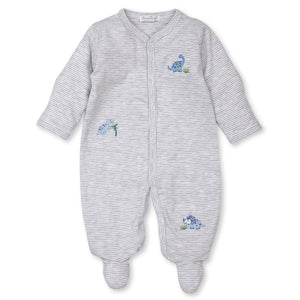Happy-Saurus Grey Stripe Dinosaur Footie