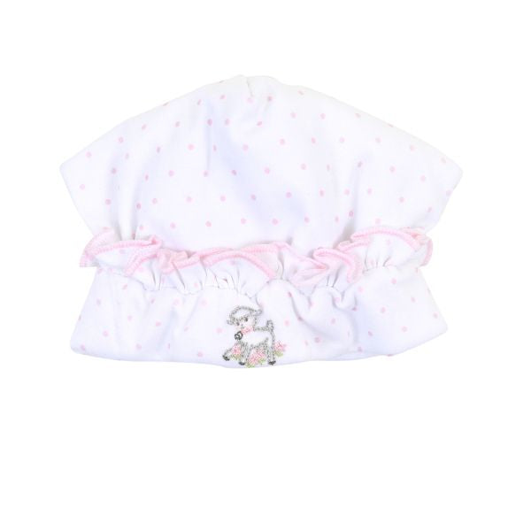 Precious Lamb Embroidered Ruffled Hat