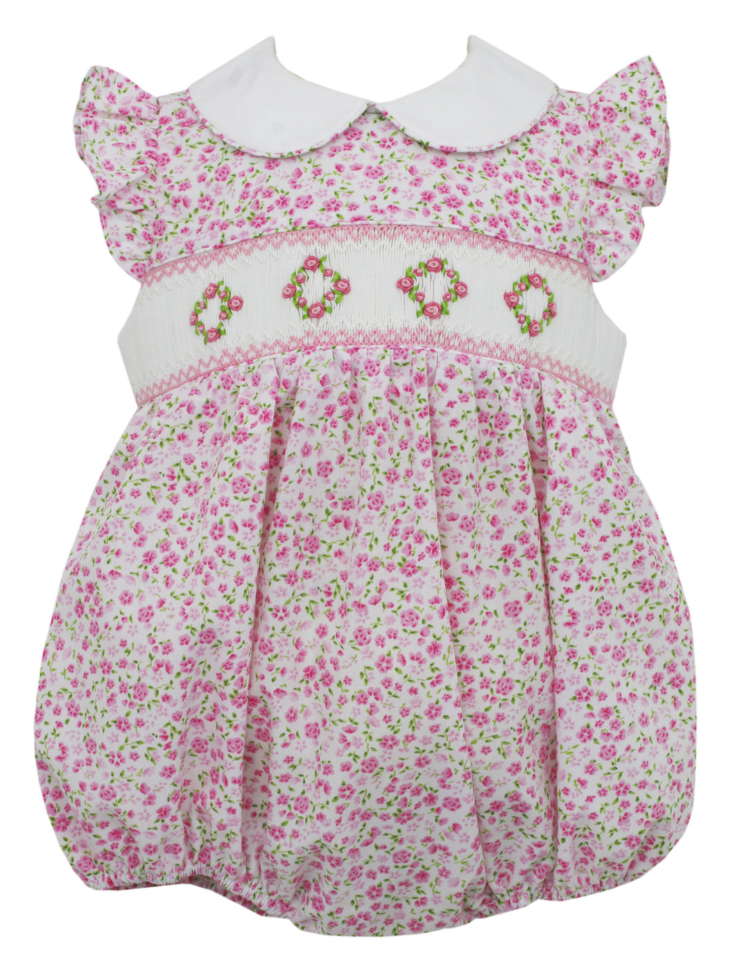 Hollie Pink Floral Collared Bubble