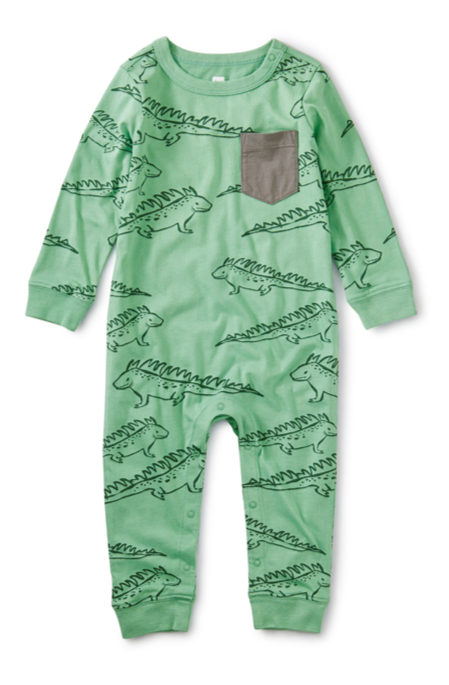 Printed Pocket Romper - Iguana
