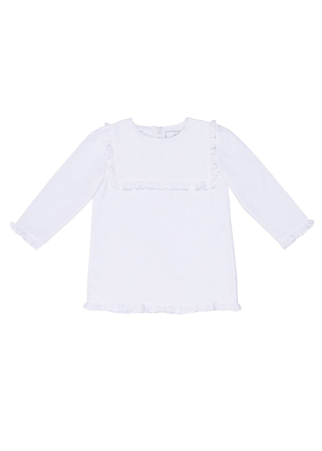 White Long Sleeve with Woven Square Collar