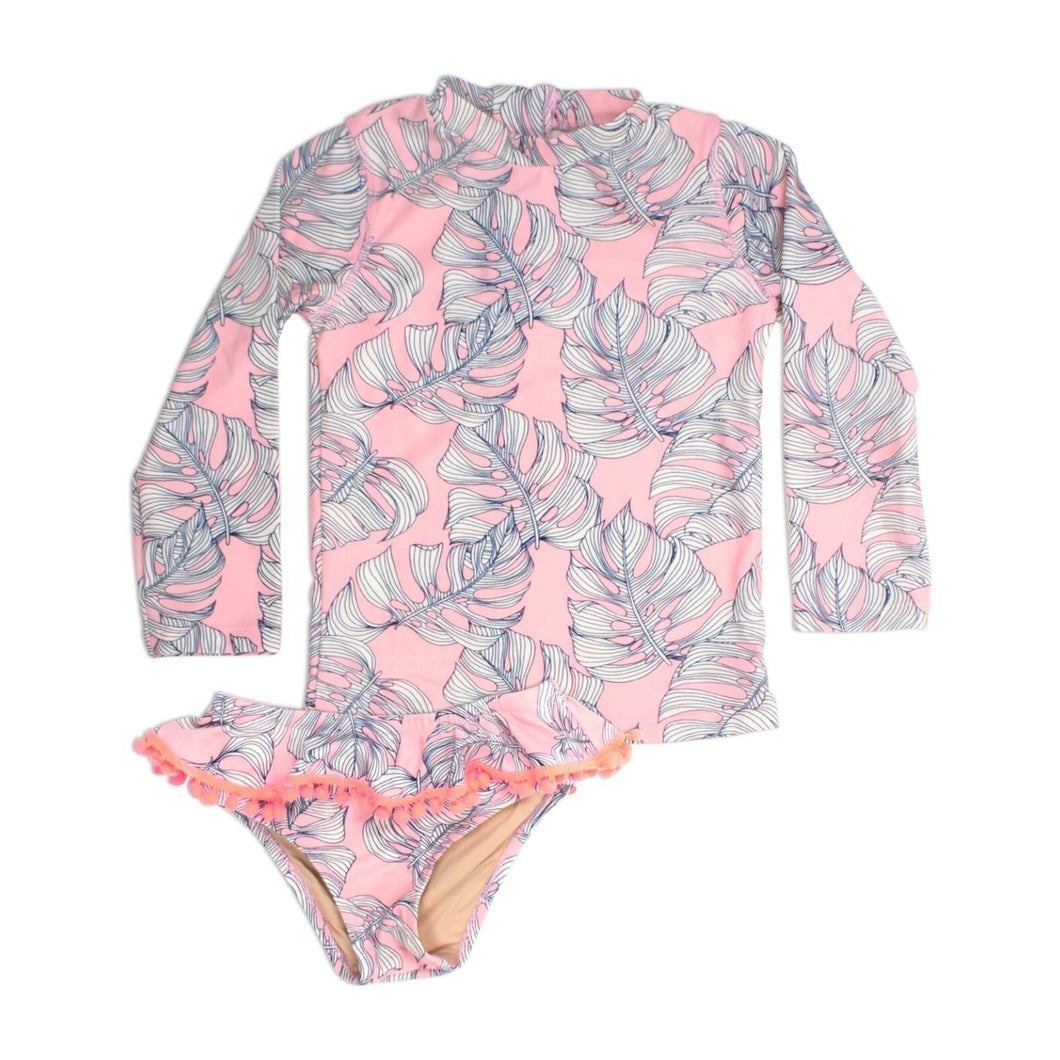 Pink Monstera Rash Guard Set