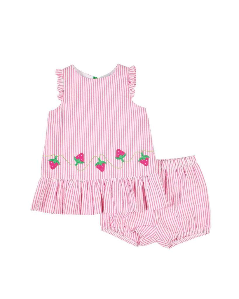 Seersucker Strawberries Dress & Bloomer