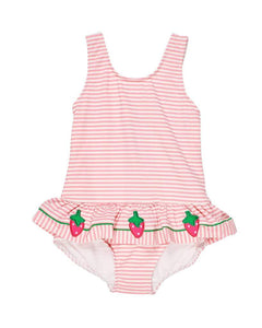 Seersucker Swimsuit with Strawberries