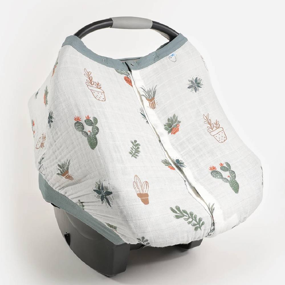Cotton Muslin Car Seat Canopy - White Anemone
