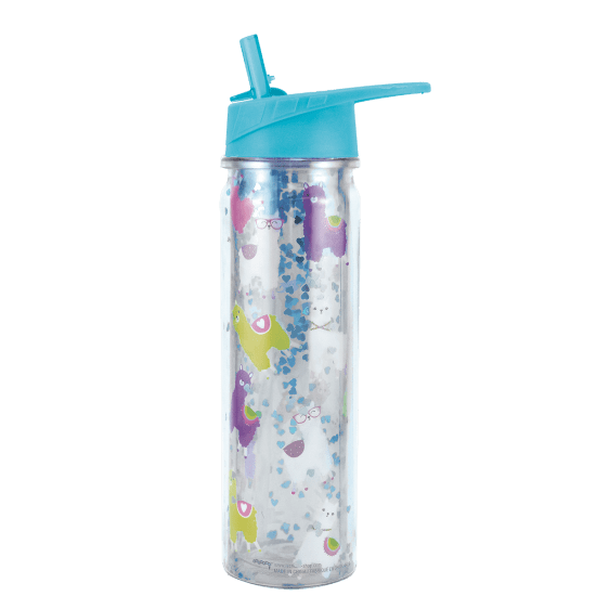Glitter Water Bottle with Straw