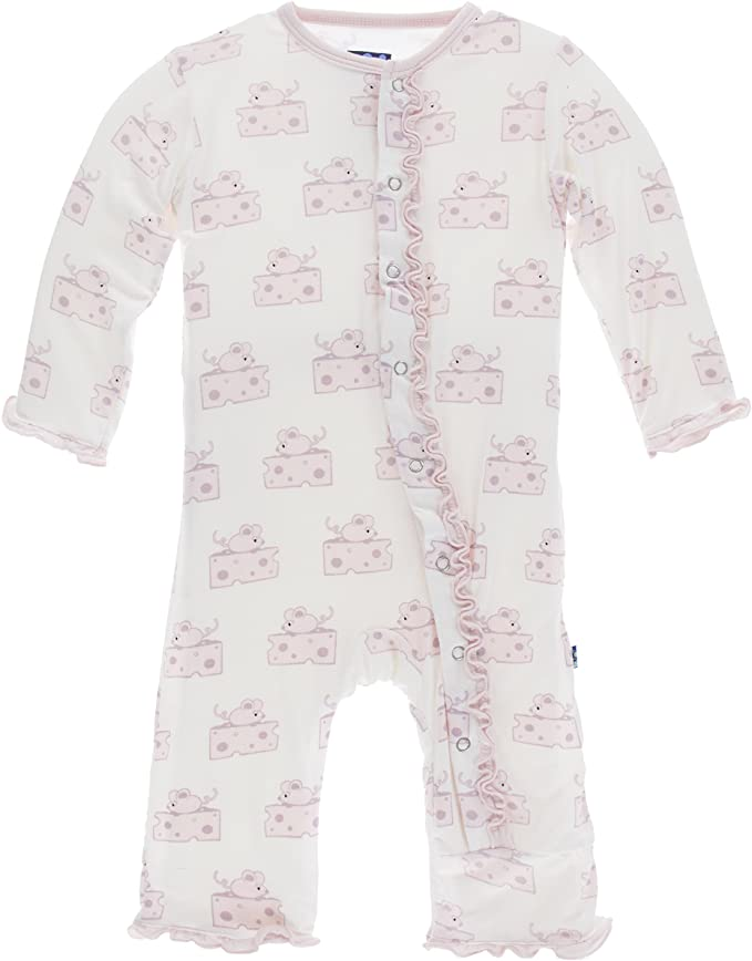 Mouse Print Muffin Ruffle Coverall