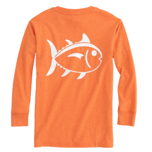 Papaya Orange Long Sleeve Heather Outline Skipjack T-Shirt