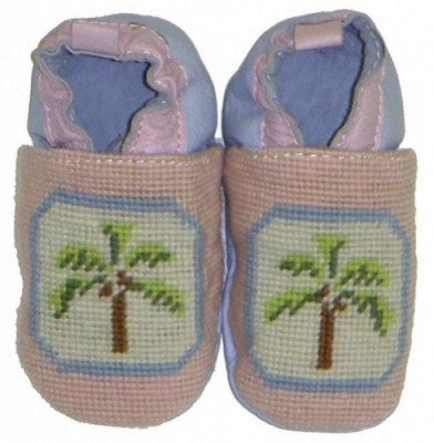 Palm Needlepoint Baby Booties
