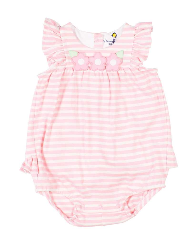Pink Stripe Knit Romper with Flowers
