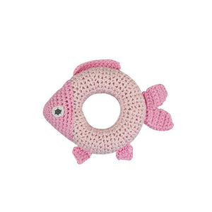 "Pink Fish Bamboo 5"" Ring Rattle"